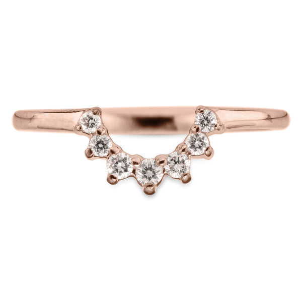 Edna diamond basket contour band, 14k Rose Gold