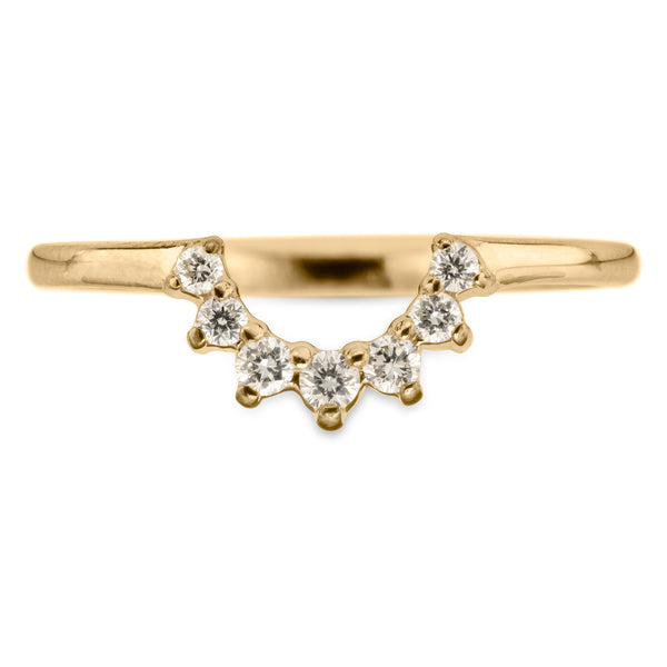 Edna diamond basket contour band, 14k Yellow Gold