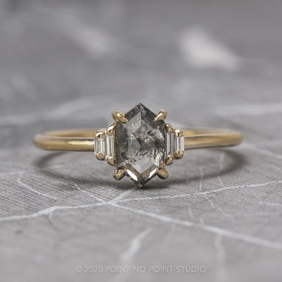 1.16 Carat Salt & Pepper Hexagon Diamond Engagement Ring, Betty Setting, 14K Yellow Gold