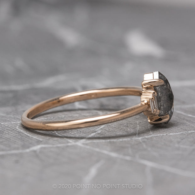 1.16 Carat Salt & Pepper Hexagon Diamond Engagement Ring, Betty Setting, 14K Rose Gold