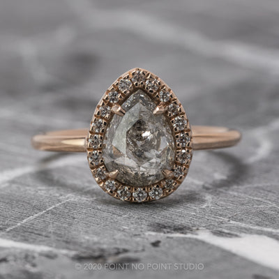 1.97 Carat Salt & Pepper Pear Diamond Engagement Ring, Halo Setting, 14k Rose Gold