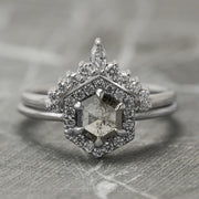 .88 Carat Salt & Pepper Hexagon Diamond Engagement Ring, Halo Setting, 14K White Gold