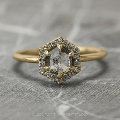 .88 Carat Salt & Pepper Hexagon Diamond Engagement Ring, Halo Setting, 14K Yellow Gold
