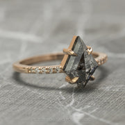 .99 Carat Black Speckled Kite Diamond Engagement Ring, Jules Setting, 14K Rose Gold