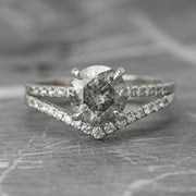 1.72 Carat Salt & Pepper Diamond Engagement Ring, Jules Setting, 14K White Gold