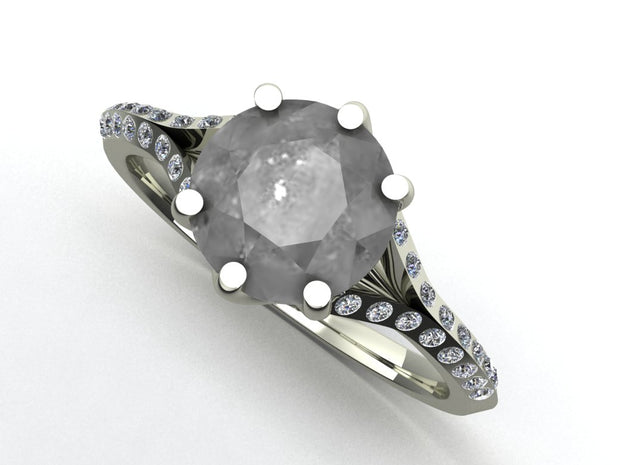 Custom Salt & Pepper Platinum Engagement Ring