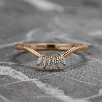 Marquise Diamond Contour Wedding Band, Wren Setting, 14K Rose Gold