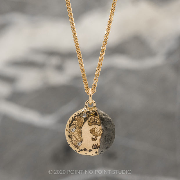 Moon Phase with Diamonds Yellow Gold