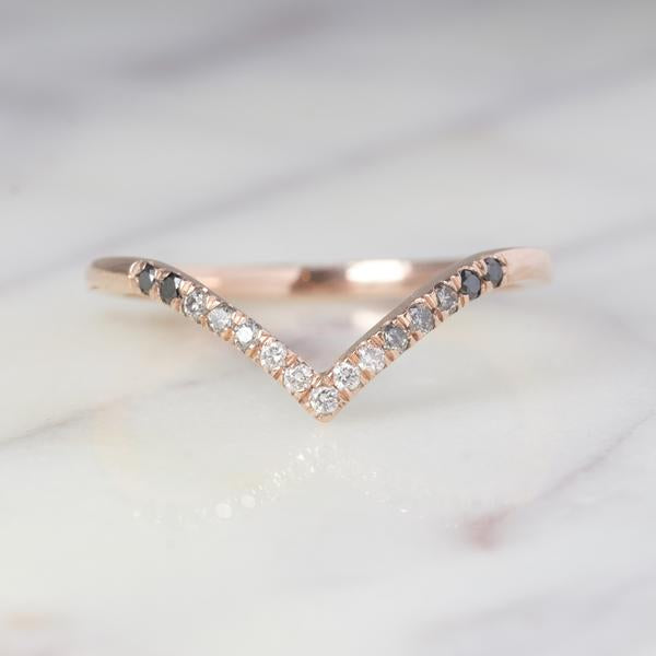Ombre Diamond Vivian V Band, 14k Rose Gold, Deep Contour