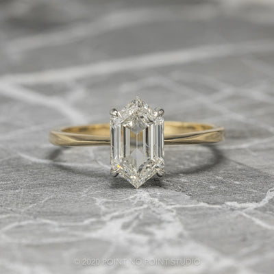 1.54ct Clear Hexagon Diamond Engagement Ring, Jane Setting, Platinum & 14K Yellow Gold