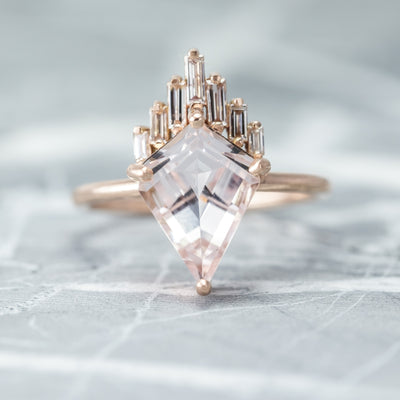 1.68 Carat Morganite Engagement Ring, Juniper Setting, 14K Rose Gold