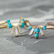 Turquoise And Diamond Basket Contour Band