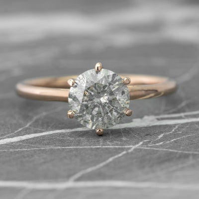 1.58ct Salt & Pepper Diamond Engagement Ring, Madeline Setting, 14k Rose Gold