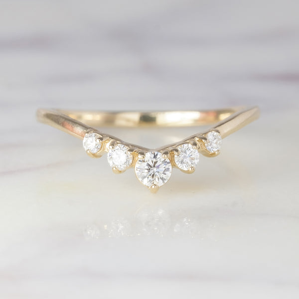 Simple Catherine diamond wedding band, 14k yellow gold