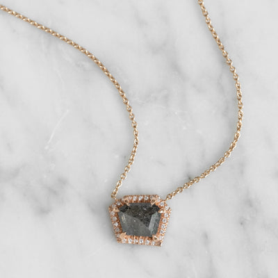2.62 tcw Geometric Diamond Halo Necklace, Recycled 14k Rose Gold