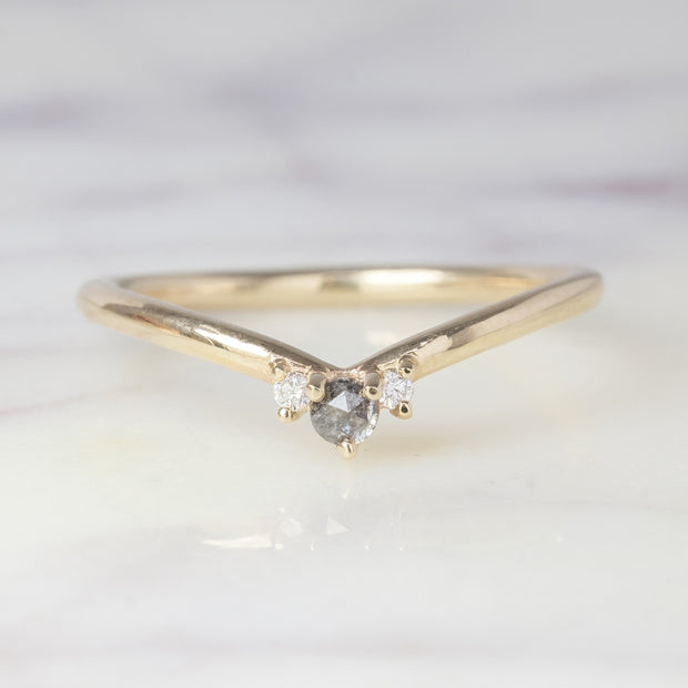 Grey and White Diamond Wedding Band, Charlotte Setting, 14K Yellow Gold