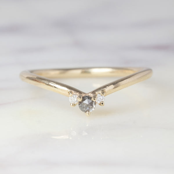 Charlotte Grey and White Diamond Wedding Ring