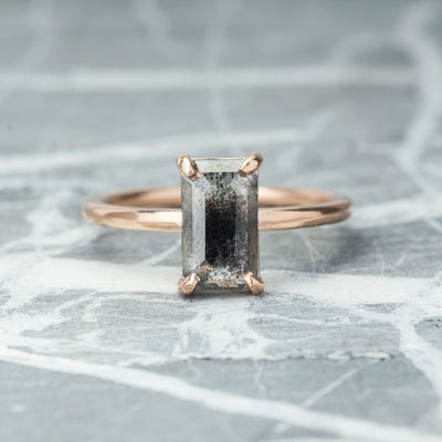 1.54 Carat Black Emerald Cut Diamond Jane Ring, 14k Rose Gold