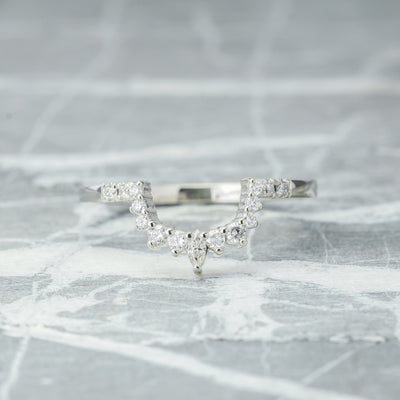 Diamond Contour Wedding Band, X-Large Emma Setting, 14k White Gold