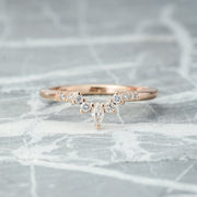 Diamond Contour Wedding Band, Small Emma Setting, 14K Rose Gold