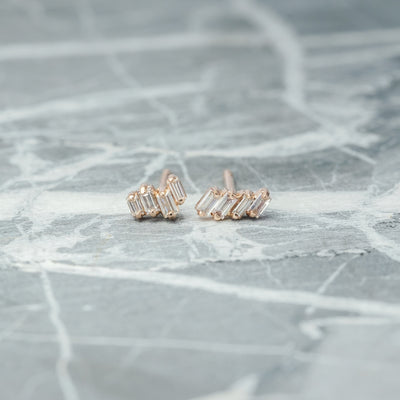 .20 tcw Asymmetrical Blush Baguette Diamond Studs, 14k Rose Gold Earrings