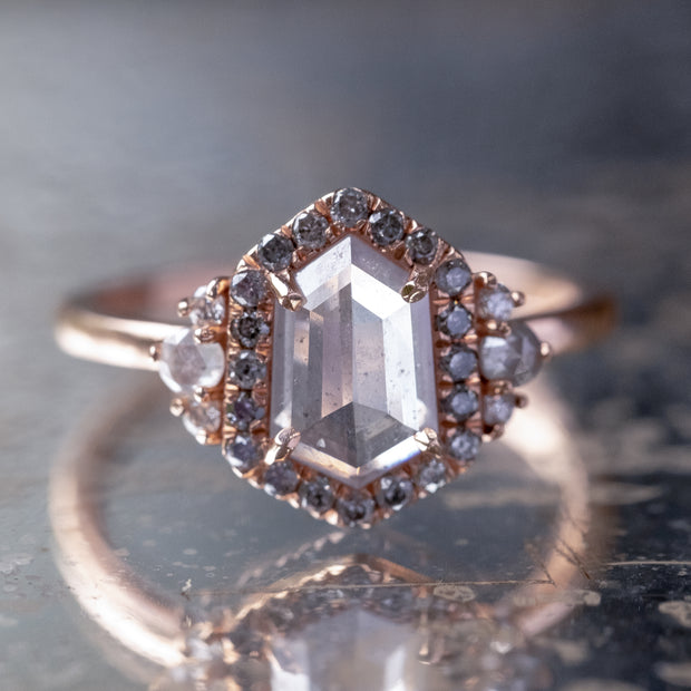 1.24 Carat Hexagon Diamond Engagement Ring, Eleanor Halo, 14K Rose Gold