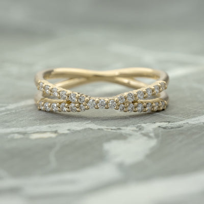 X Diamond Wedding Band, Recycled 14k Yellow Gold