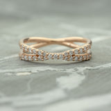 X Diamond Wedding Band, Recycled 14k Rose Gold