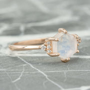 Hexagon Moonstone Engagement Ring