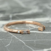 Baguette Diamond Wedding Ring, Harper Setting, 14K Rose  Gold
