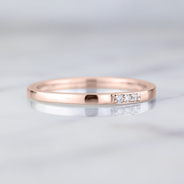 14k Rose Gold 3 Diamond Wedding Band, Rectangle Style