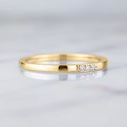 14k Yellow Gold 3 Diamond Wedding Band, Rectangle Style