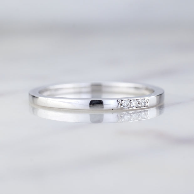 14k White Gold 3 Diamond Wedding Band, Rectangle Style