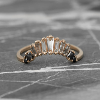 Baguette Diamond Wedding Band, Ombre Wren Setting, 14K Rose Gold
