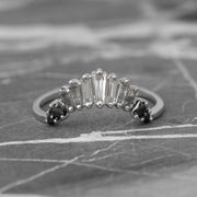 Baguette Diamond Wedding Band, Ombre Wren Setting, 14K White Gold