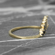 Baguette Diamond Wedding Band, Ombre Wren Setting, 14K Yellow Gold