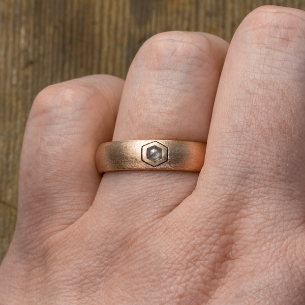 Hexagon Diamond Mens Wedding Band, 14K Rose Gold, Half Round Matte Finish