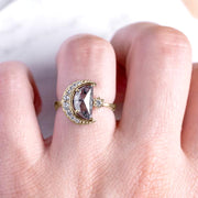 2.09 Carat Crescent Moon Engagement Ring, 14K Yellow Gold
