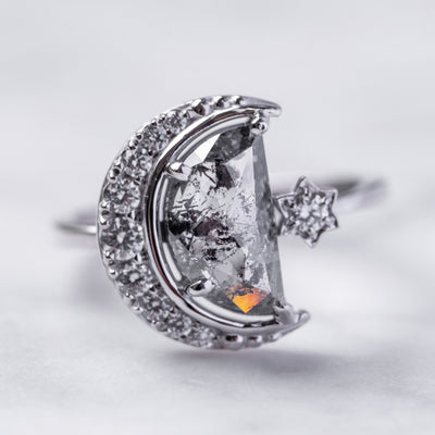 Crescent Diamond Engagement Ring