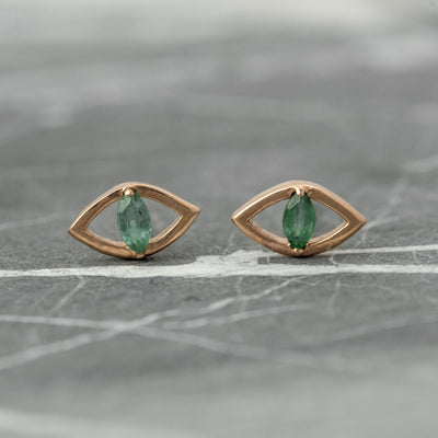 Emerald Eye Studs, 14k Rose Gold