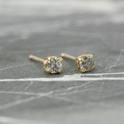 Salt & Pepper Diamond Studs, 14k Yellow Gold