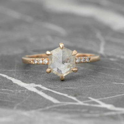 1.31 Carat Hexagon Icy White Diamond Engagement Ring, Jules Setting 14K Rose Gold