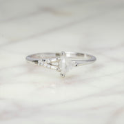 .43 Carat Geometric Shield Diamond Engagement Ring, Zara Setting, 14k White Gold