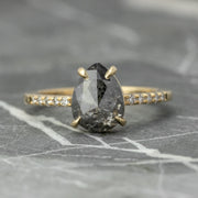 Black Pear Diamond Engagement Ring