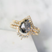 2.35 Carat Black Pear Diamond Engagement Ring, Jules Setting, 14K Yellow Gold