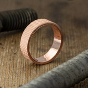 6mm14k Rose Gold Mens Wedding Band, Knurling Texture