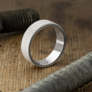6mm14k White Gold Mens Wedding Band, Knurling Texture