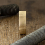 6mm14k Yellow Gold Mens Wedding Band, Knurling Texture