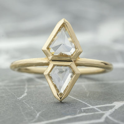 1.23 Carat Geometric Diamond Engagement Ring, 14k Yellow Gold