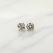 Salt & Pepper Diamond Studs, 14k Rose Gold